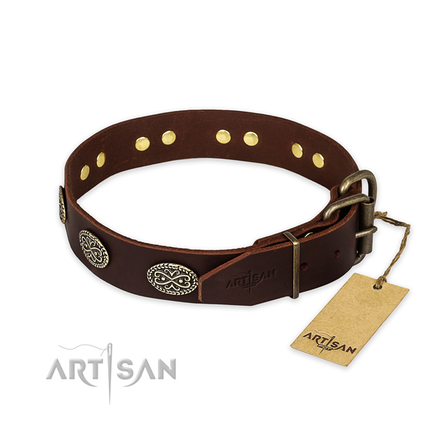 Corrosion proof buckle on full grain genuine leather collar for your beautiful dog