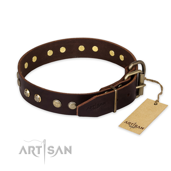 Rust resistant hardware on full grain leather collar for your attractive pet