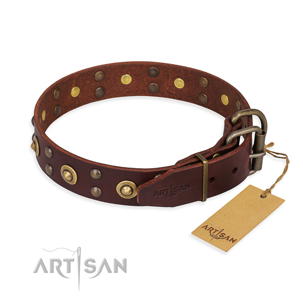 Durable hardware on leather collar for your handsome canine