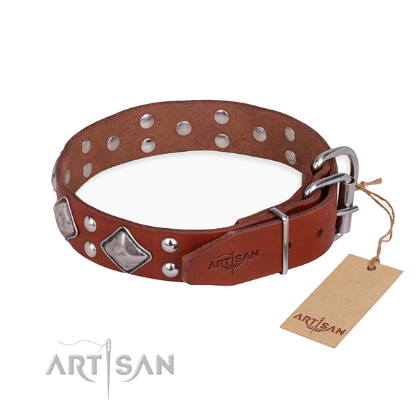 Genuine leather dog collar with stunning durable decorations