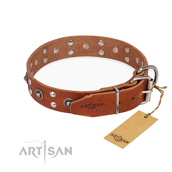 Corrosion resistant fittings on leather collar for your attractive doggie
