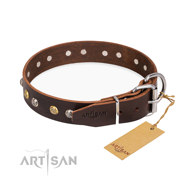 High quality full grain leather dog collar crafted for walking