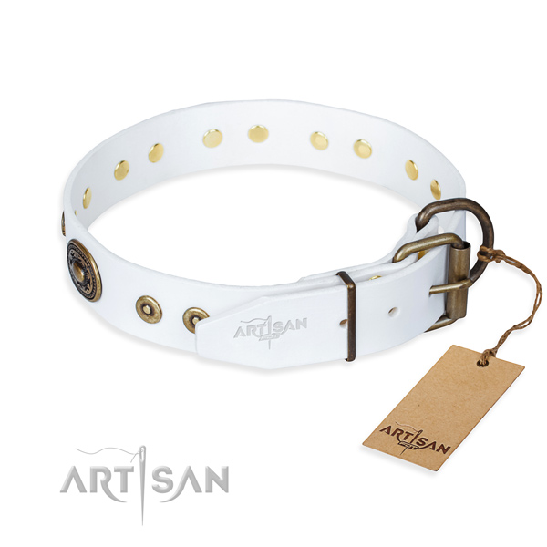 Full grain leather dog collar made of top rate material with corrosion resistant decorations