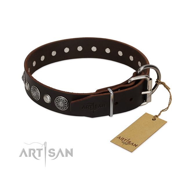 Fine quality full grain natural leather dog collar with top notch embellishments