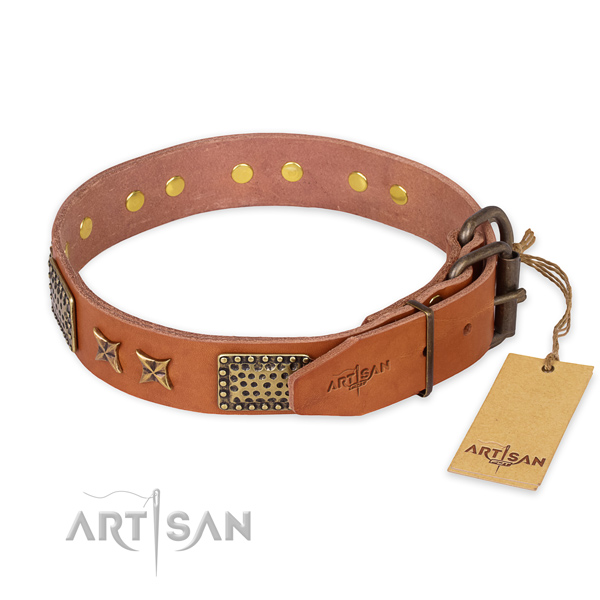 Reliable fittings on natural genuine leather collar for your lovely four-legged friend