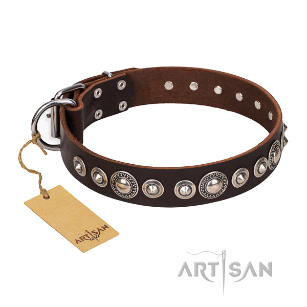 Natural genuine leather dog collar made of gentle to touch material with reliable embellishments
