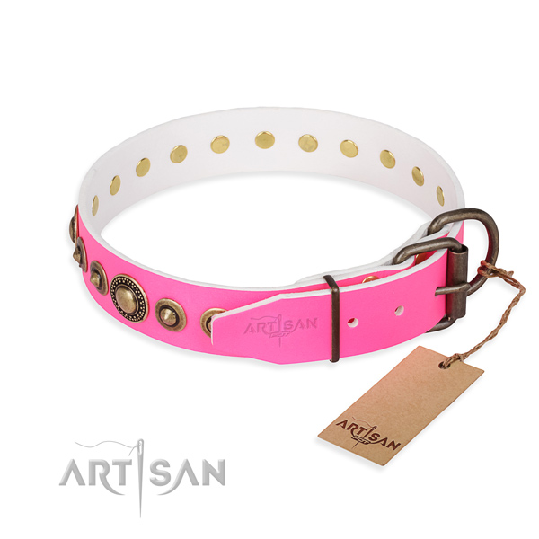 Strong full grain genuine leather dog collar handcrafted for easy wearing