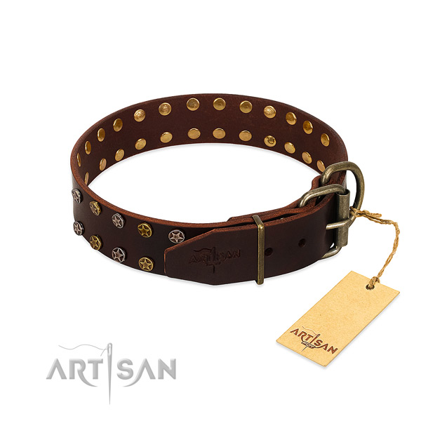 Handy use natural leather dog collar with exceptional decorations