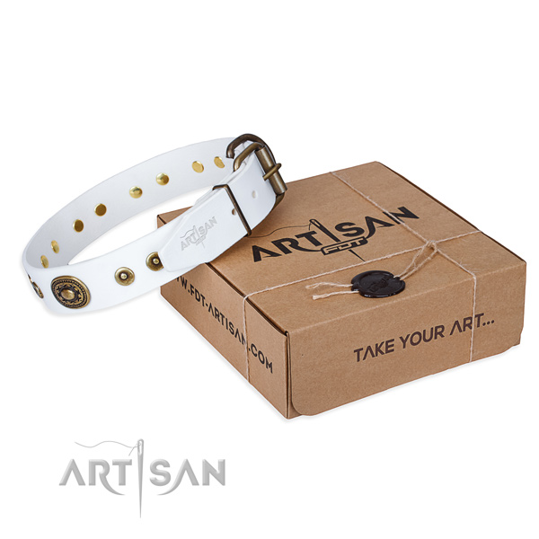 Natural genuine leather dog collar made of flexible material with reliable fittings