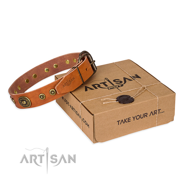 Leather dog collar made of quality material with reliable buckle