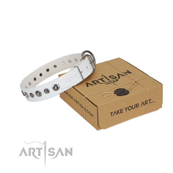 Reliable full grain leather dog collar with top notch studs