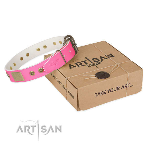 Strong embellishments on dog collar for comfortable wearing