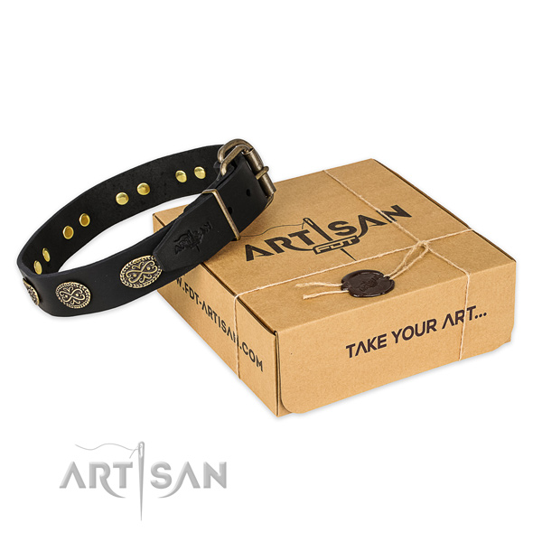 Rust-proof traditional buckle on full grain genuine leather collar for your beautiful four-legged friend