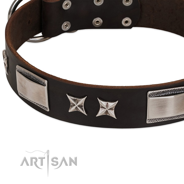 Soft leather dog collar with corrosion resistant hardware