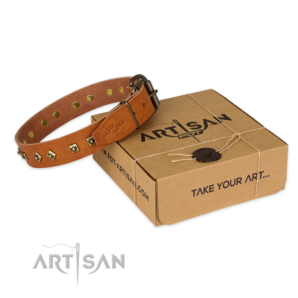 Durable hardware on genuine leather dog collar for comfortable wearing