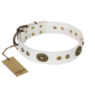 """Adorable Dream"" FDT Artisan White Leather English Bulldog Collar"