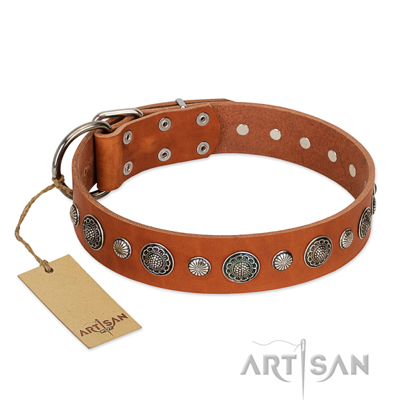 Soft natural leather dog collar with rust resistant fittings