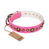"""Pink Gloss"" FDT Artisan Leather English Bulldog Collar with Old-Bronze Plated Circles and Studs"
