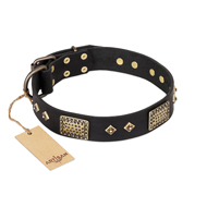 """Jewel Passion"" FDT Artisan Fashionable Black Leather English Bulldog Collar"