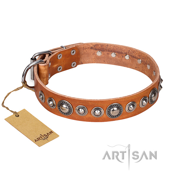 Full grain natural leather dog collar made of soft material with corrosion resistant fittings
