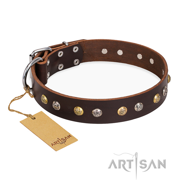 Comfy wearing inimitable dog collar with rust resistant buckle