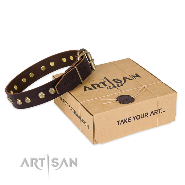 Rust resistant buckle on full grain leather collar for your handsome doggie