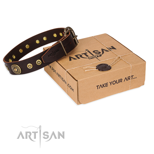 Natural genuine leather dog collar made of soft material with rust resistant hardware