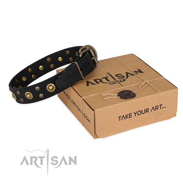 Strong traditional buckle on full grain leather collar for your beautiful four-legged friend