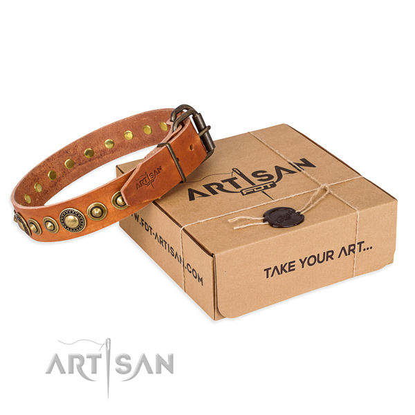 Gentle to touch natural genuine leather dog collar handcrafted for comfy wearing