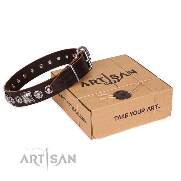Full grain leather dog collar made of reliable material with durable D-ring