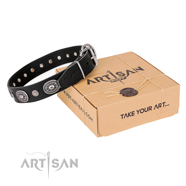 Flexible full grain genuine leather dog collar created for everyday use