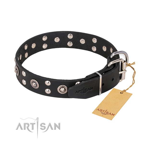 Corrosion resistant buckle on full grain natural leather collar for your impressive doggie