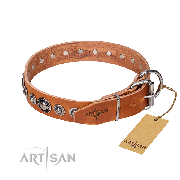 Leather dog collar made of best quality material with rust resistant studs