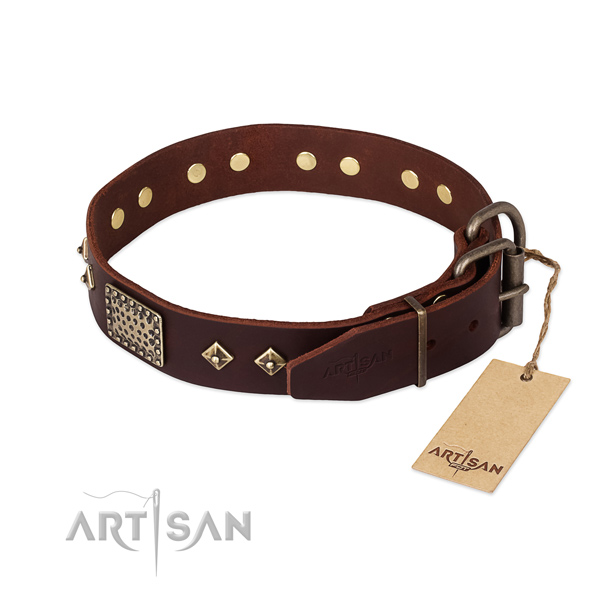Genuine leather dog collar with rust-proof fittings and decorations