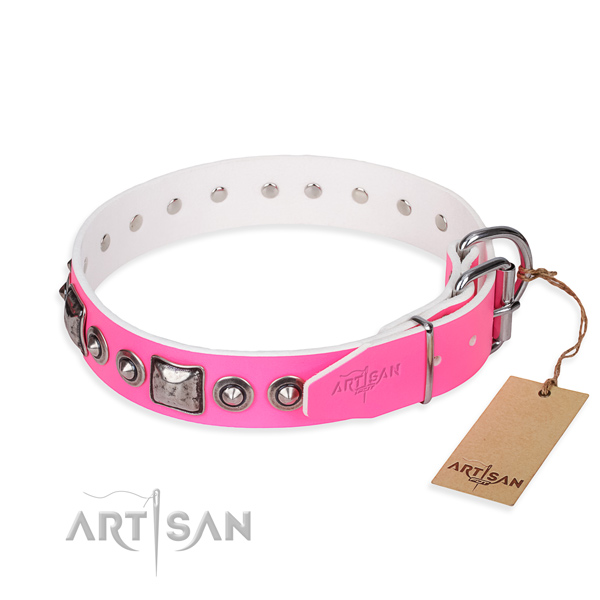 Flexible full grain leather dog collar crafted for daily use