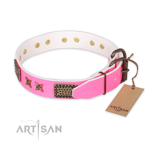 Corrosion proof buckle on full grain natural leather collar for your impressive dog