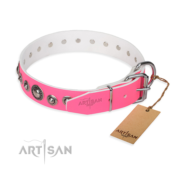 Leather dog collar made of best quality material with durable embellishments