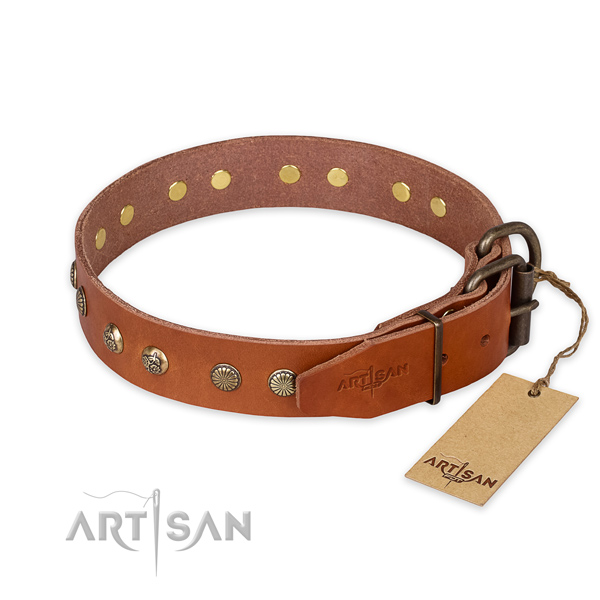 Rust-proof traditional buckle on full grain genuine leather collar for your handsome dog