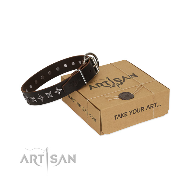 Easy wearing dog collar of top quality full grain genuine leather with decorations