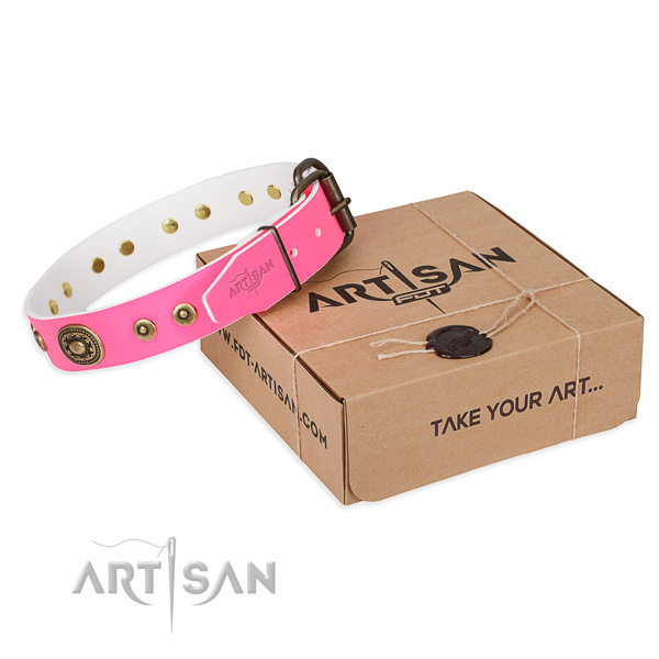 Natural genuine leather dog collar made of flexible material with corrosion resistant traditional buckle
