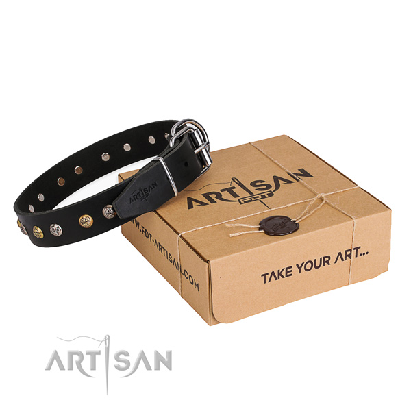 Reliable natural genuine leather dog collar created for handy use
