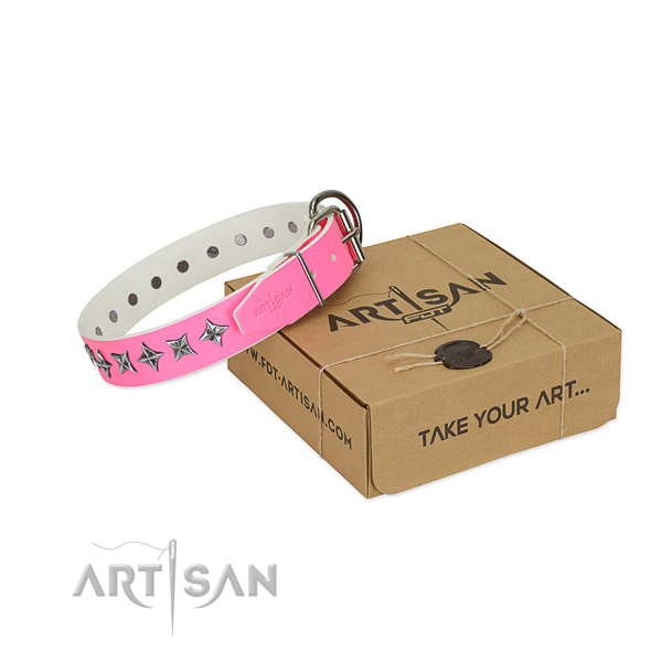 Top quality leather dog collar with top notch decorations