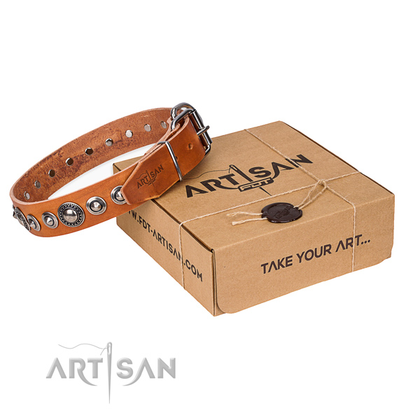 Natural genuine leather dog collar made of top rate material with durable hardware