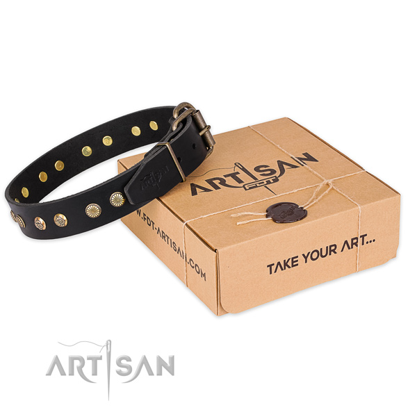 Durable hardware on full grain genuine leather collar for your impressive doggie