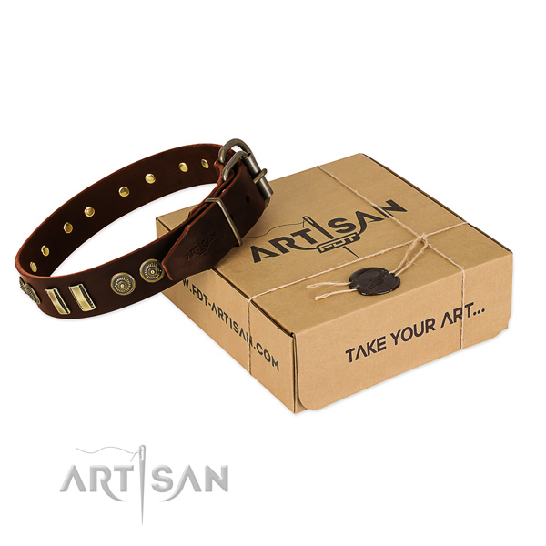 Corrosion proof buckle on genuine leather dog collar for your dog