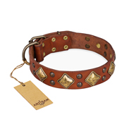 """Flight of Fancy"" FDT Artisan Adorned Leather English Bulldog Collar"