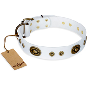 """Magnetic Appeal"" FDT Artisan White Leather English Bulldog Collar with Old Bronze Look Decorations"