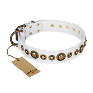 """Swirl of Fashion"" FDT Artisan Delicate White Leather English Bulldog Collar with Stunning Bronze-Plated Round Studs"