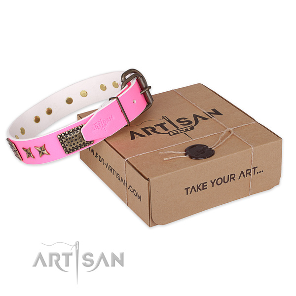 Rust resistant traditional buckle on full grain genuine leather collar for your lovely canine