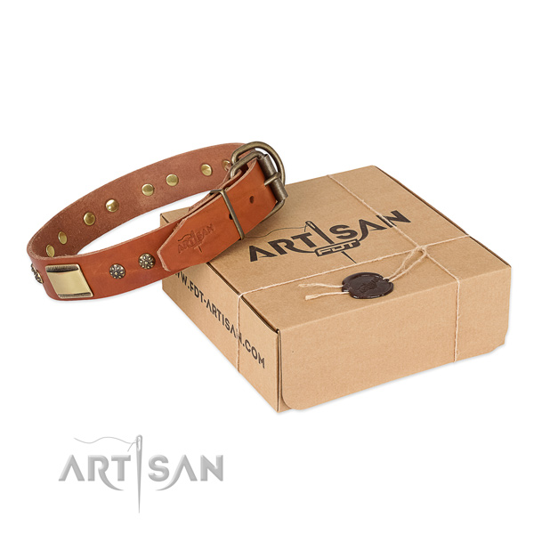 Awesome natural genuine leather collar for your lovely dog
